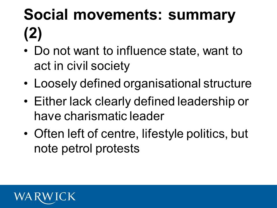 Social movements: summary (2)