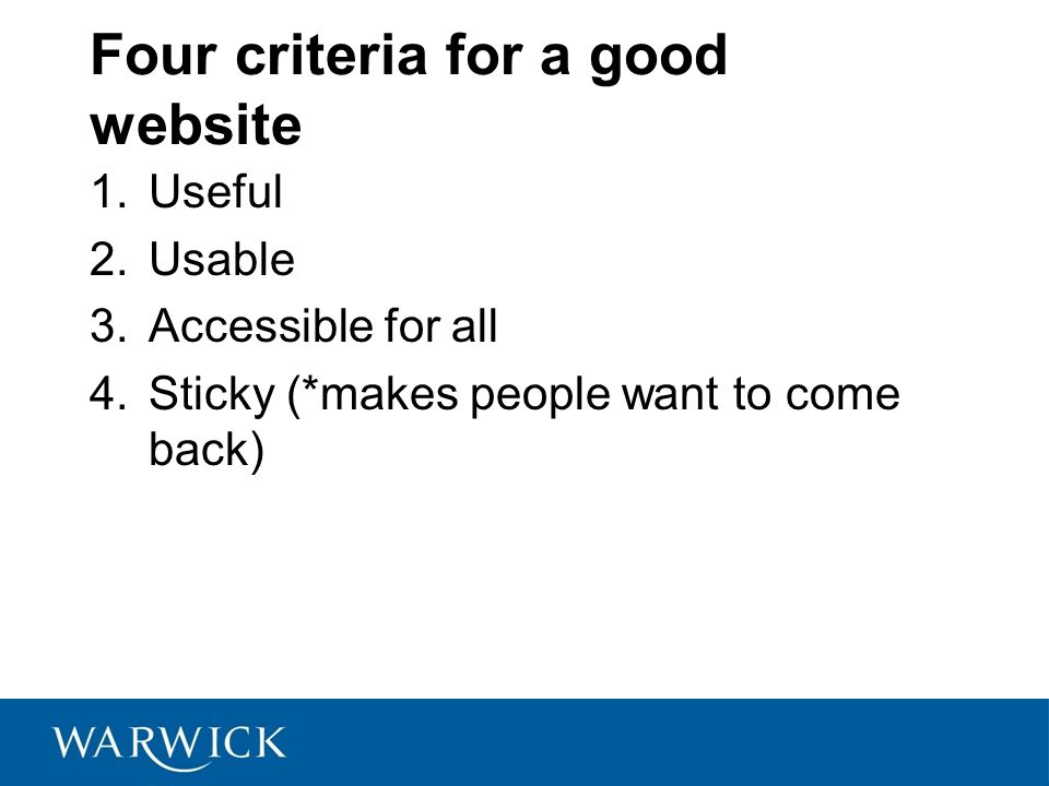 Four criteria for a good website