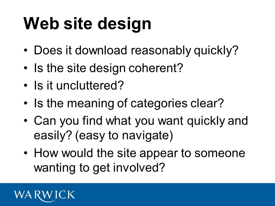 Web site design Does it download reasonably quickly