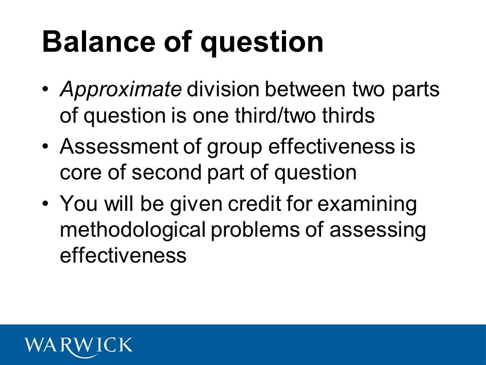 Balance of question Approximate division between two parts of question is one third/two thirds.