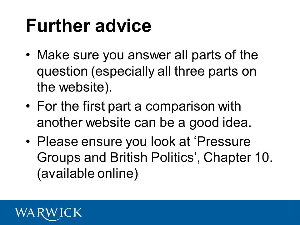 Further advice Make sure you answer all parts of the question (especially all three parts on the website).