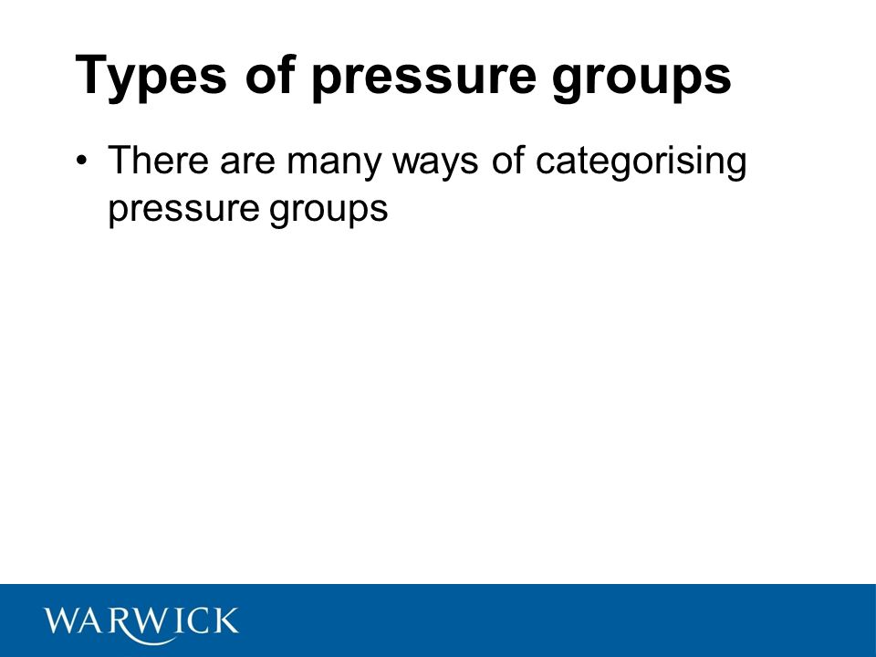 Types of pressure groups