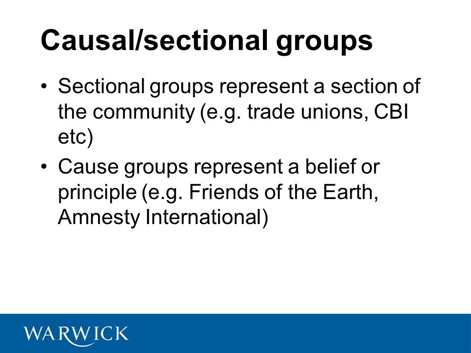 Causal/sectional groups