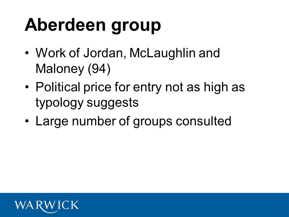 Aberdeen group Work of Jordan, McLaughlin and Maloney (94)