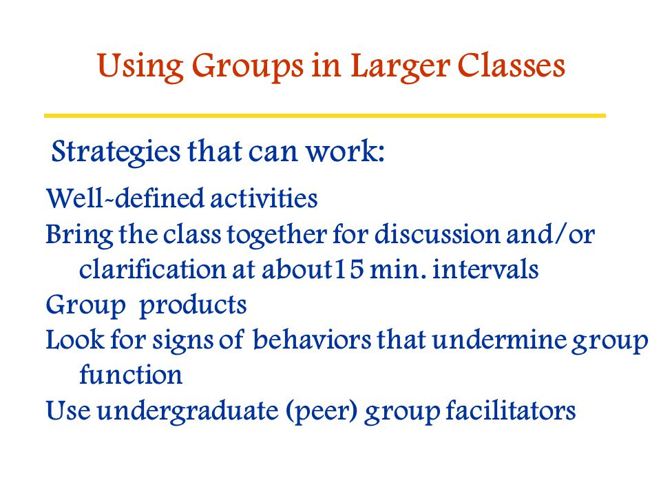 Using Groups in Larger Classes