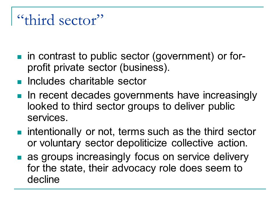 third sector in contrast to public sector (government) or for-profit private sector (business). Includes charitable sector.