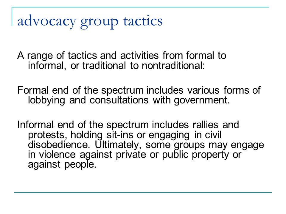 advocacy group tactics