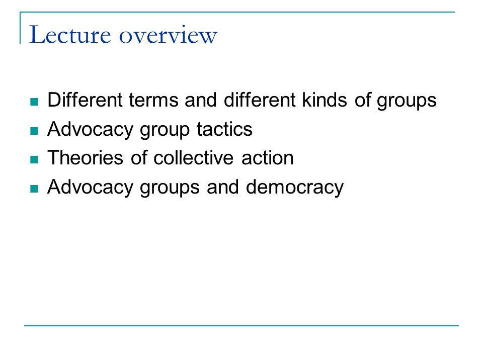 Lecture overview Different terms and different kinds of groups