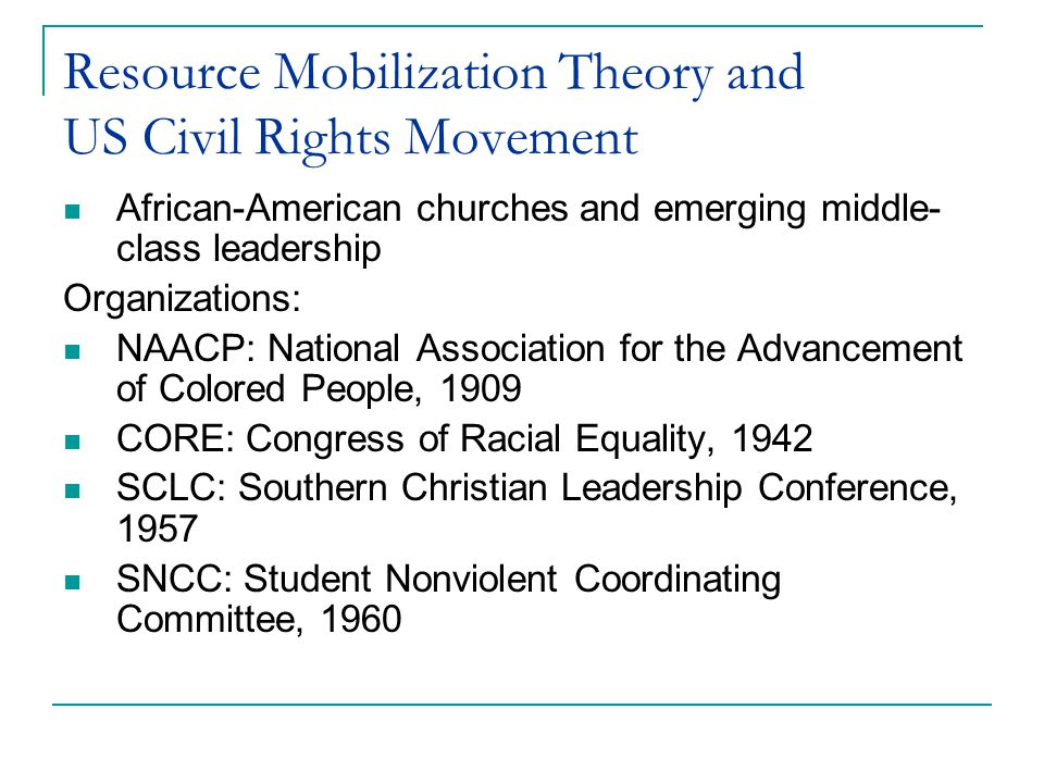 Resource Mobilization Theory and US Civil Rights Movement