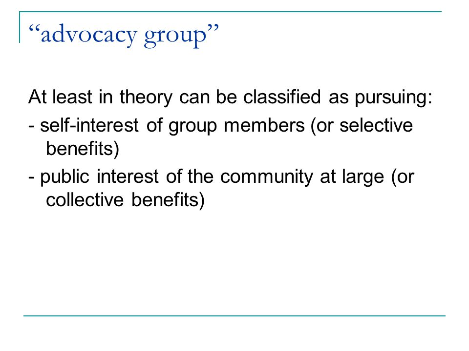 advocacy group At least in theory can be classified as pursuing: