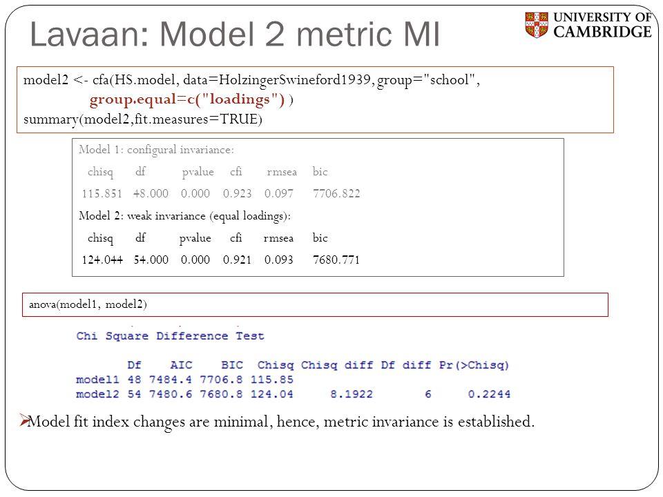 Lavaan: Model 2 metric MI