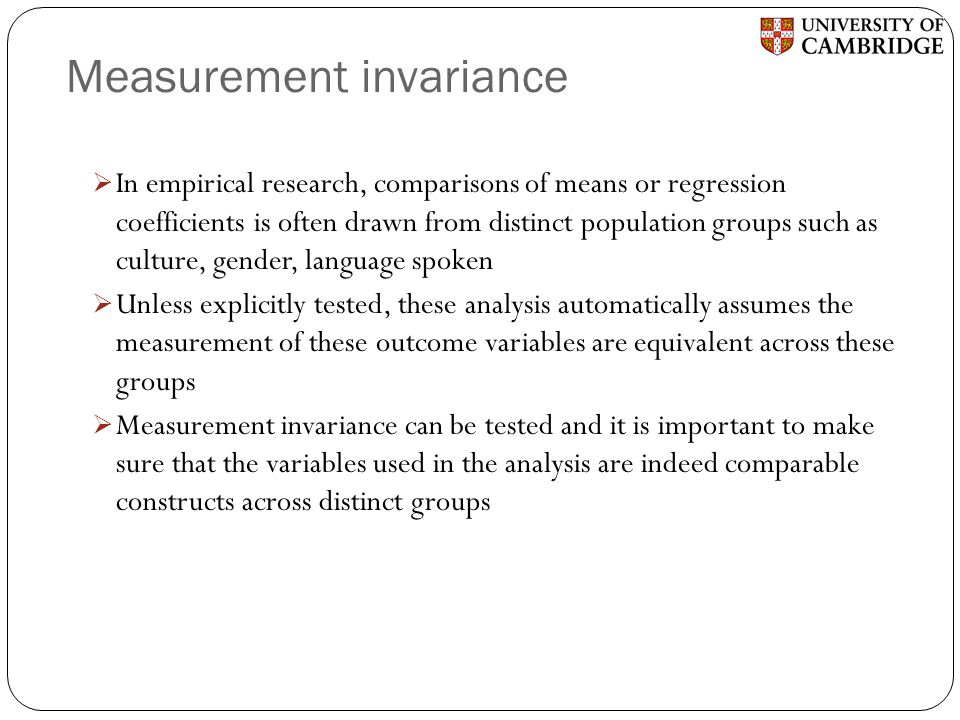 Measurement invariance