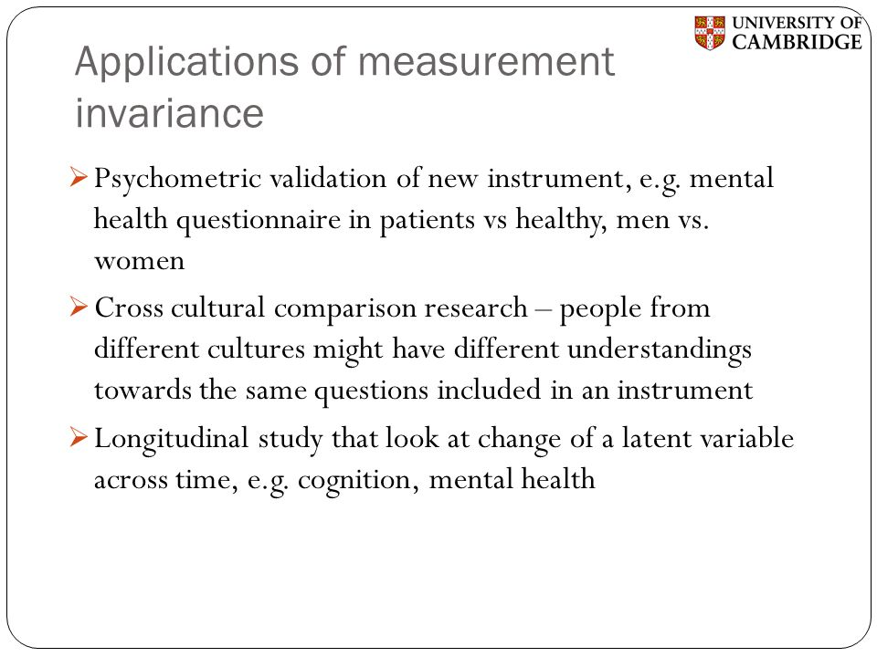 Applications of measurement invariance