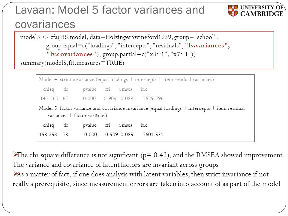Lavaan: Model 5 factor variances and covariances