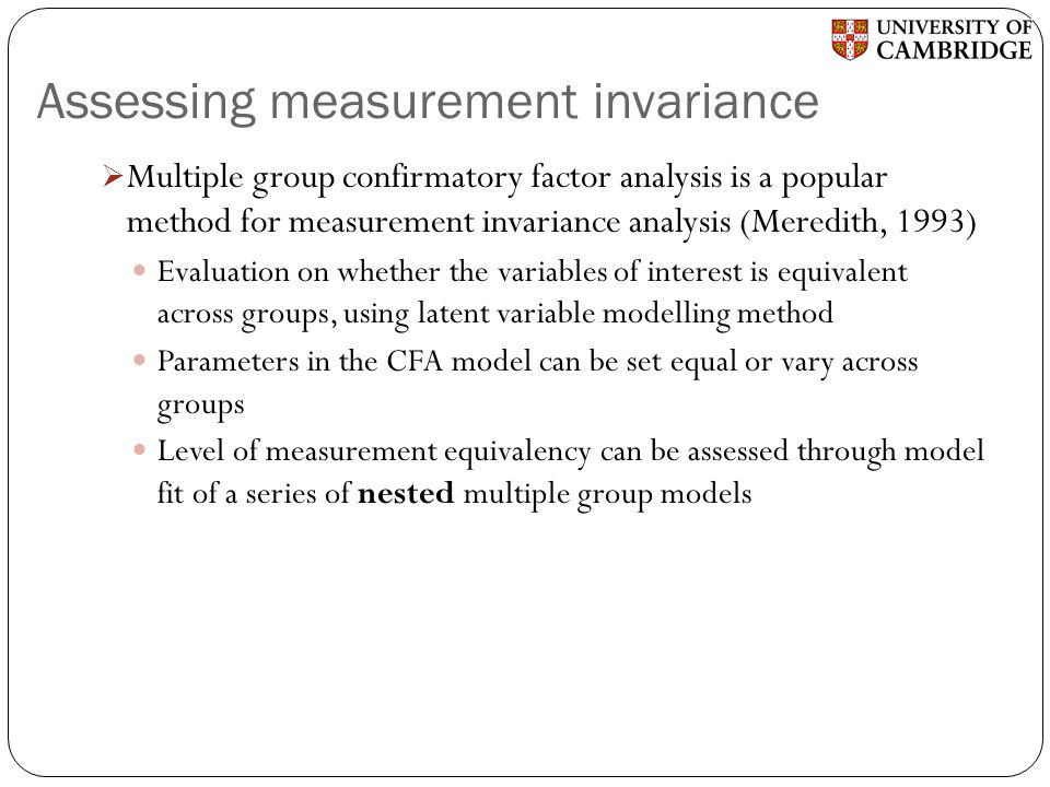 Assessing measurement invariance