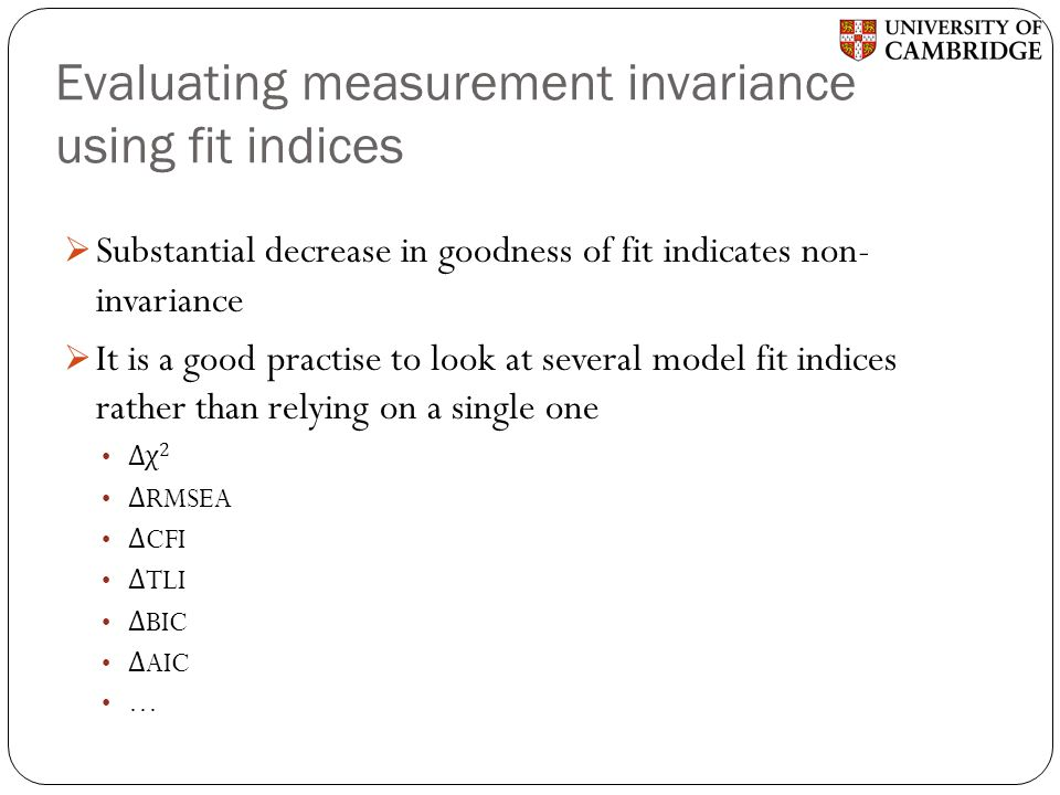 Evaluating measurement invariance using fit indices