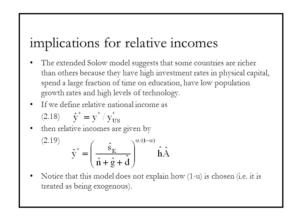 implications for relative incomes