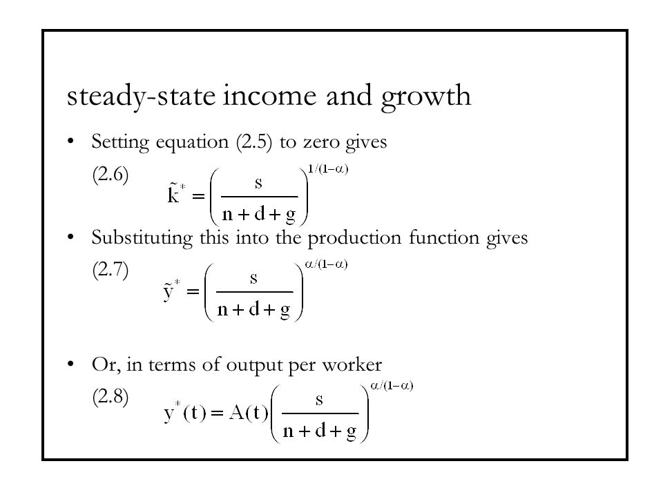 steady-state income and growth