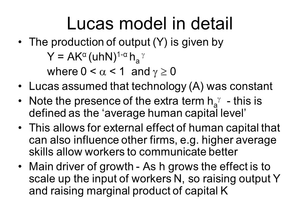 Lucas model in detail The production of output (Y) is given by