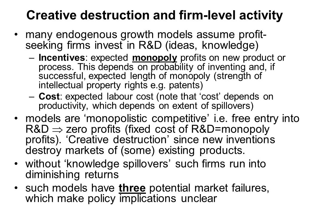 Creative destruction and firm-level activity