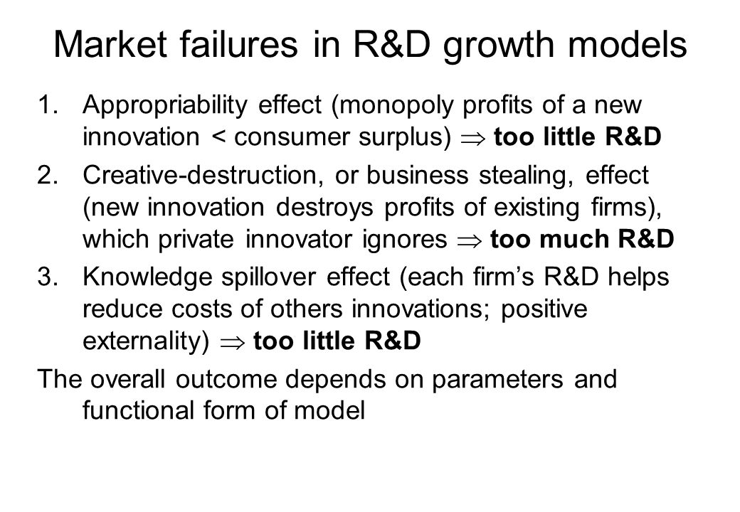 Market failures in R&D growth models