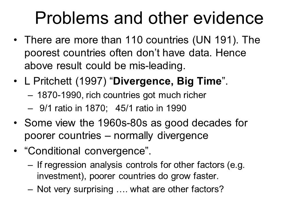 Problems and other evidence