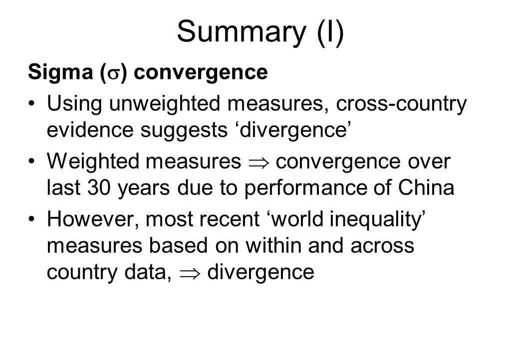 Summary (I) Sigma (s) convergence