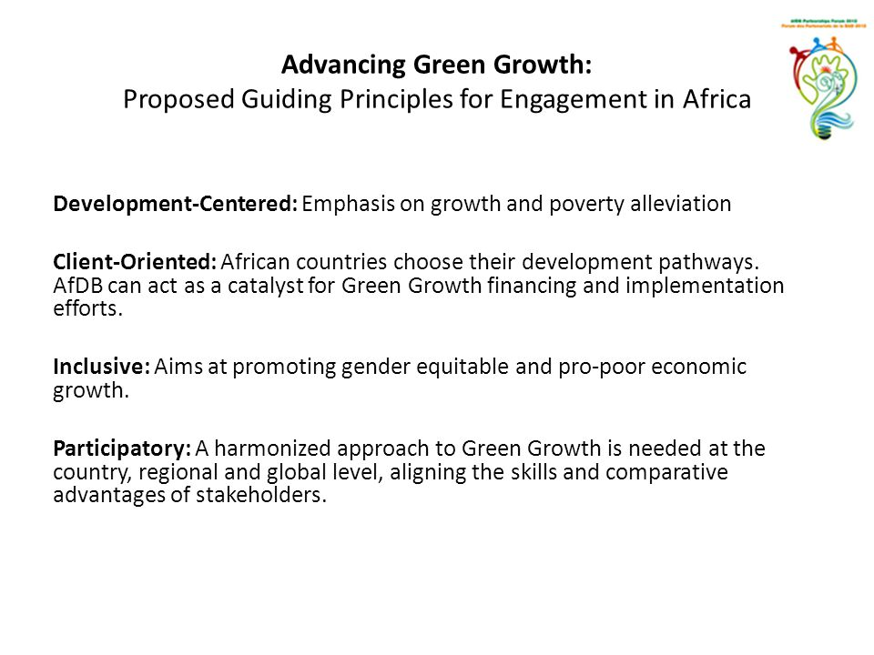 Advancing Green Growth: Proposed Guiding Principles for Engagement in Africa
