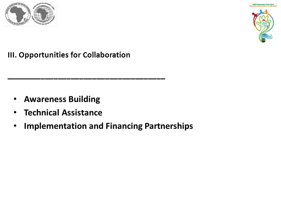 Implementation and Financing Partnerships