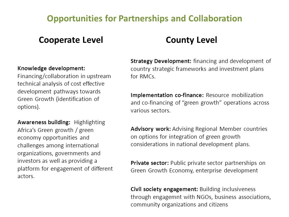 Opportunities for Partnerships and Collaboration