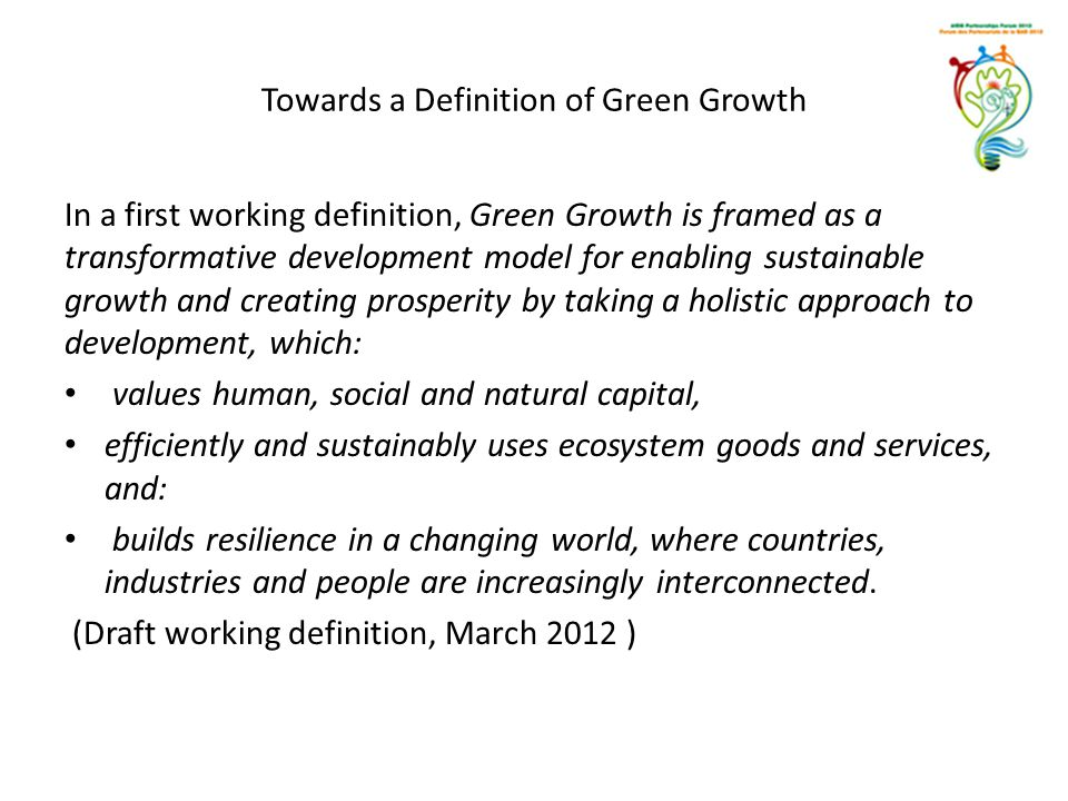Towards a Definition of Green Growth