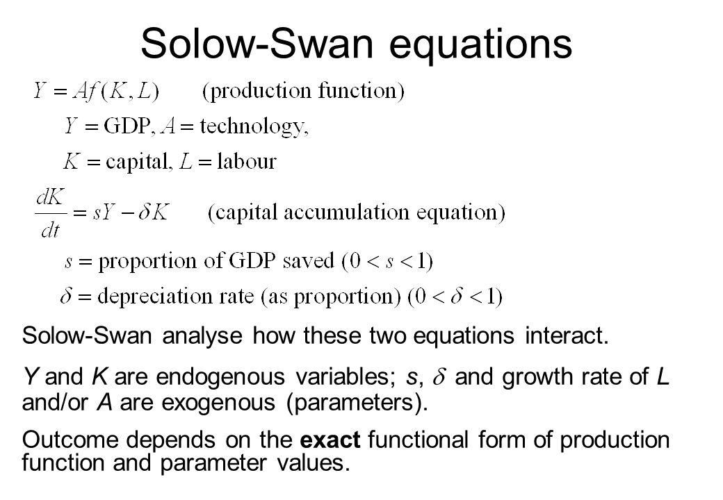 Solow-Swan equations Solow-Swan analyse how these two equations interact.