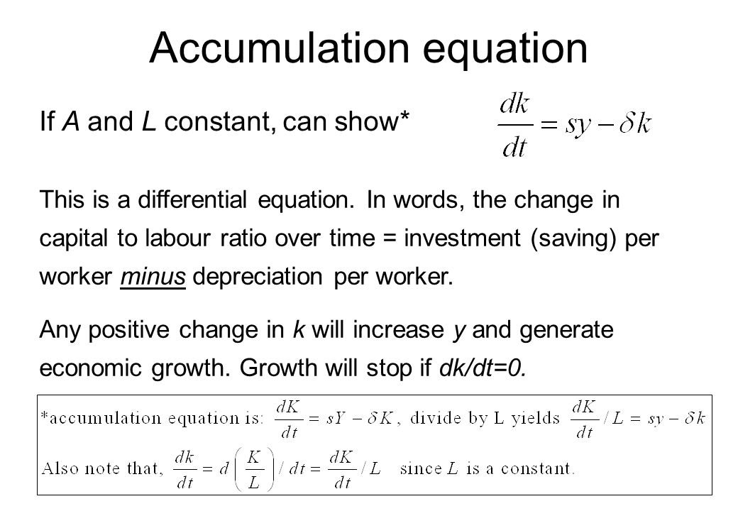 Accumulation equation
