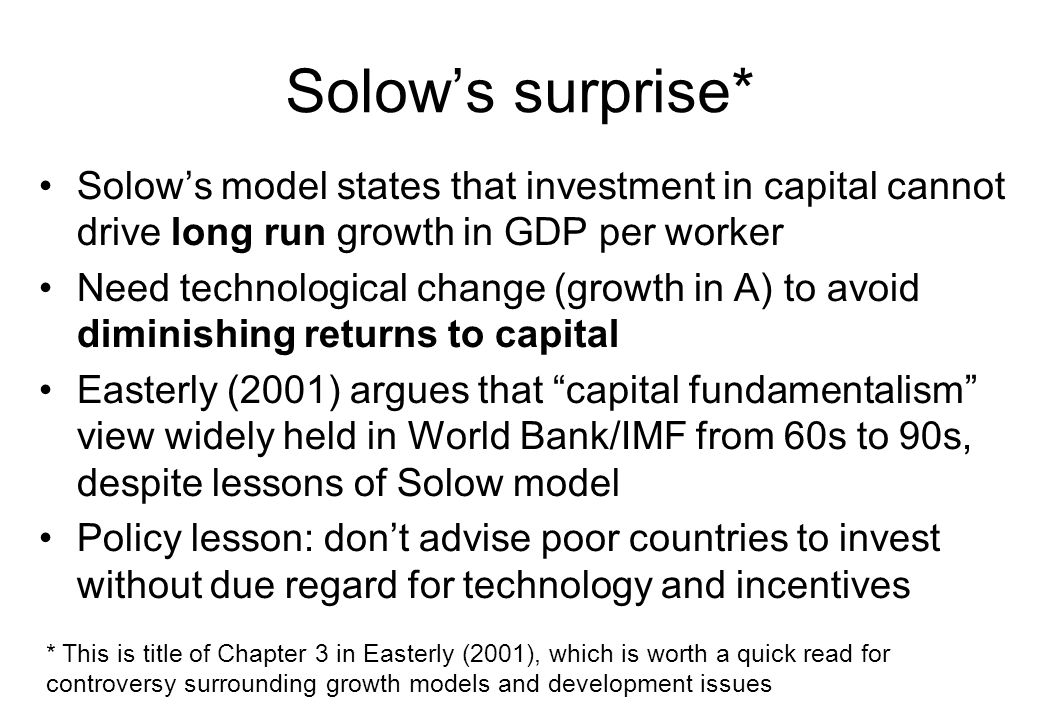 Solow's surprise* Solow's model states that investment in capital cannot drive long run growth in GDP per worker.