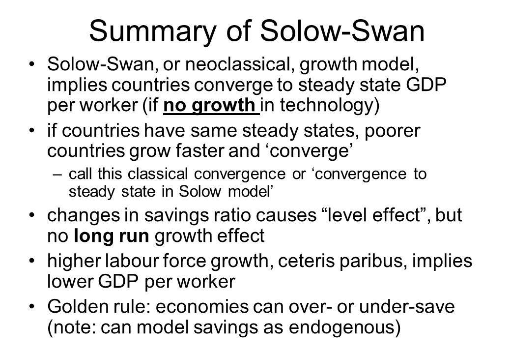 Summary of Solow-Swan