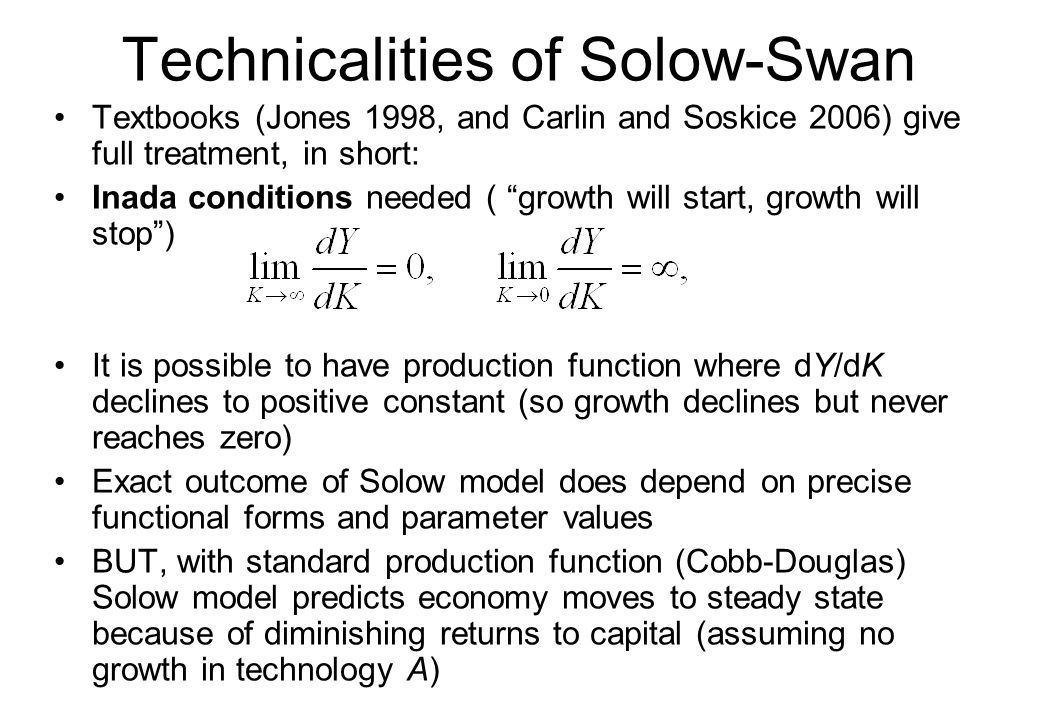 Technicalities of Solow-Swan