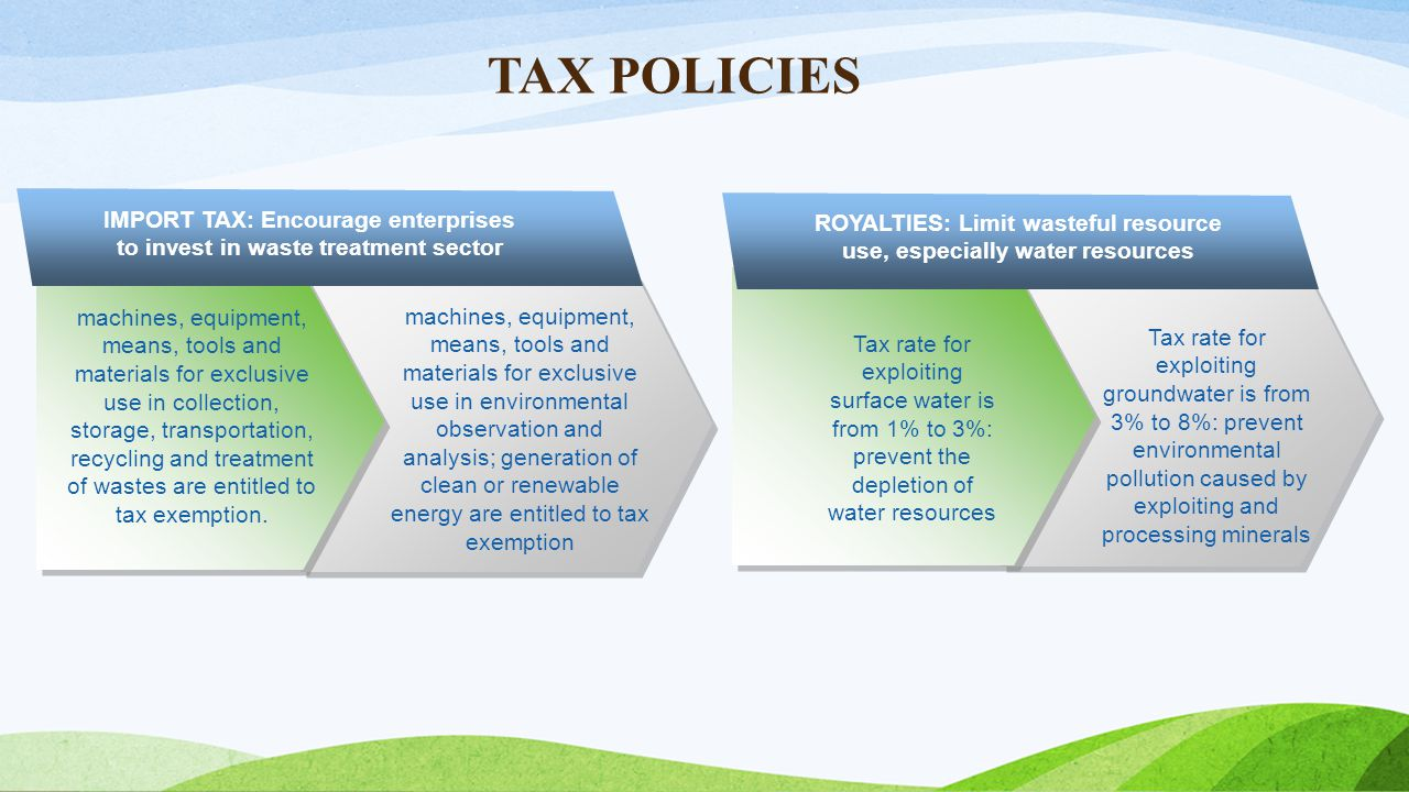 TAX POLICIES IMPORT TAX: Encourage enterprises to invest in waste treatment sector.