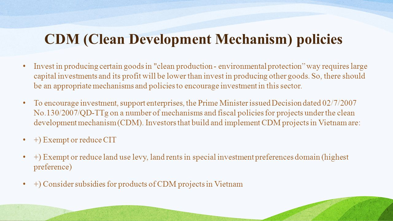 CDM (Clean Development Mechanism) policies