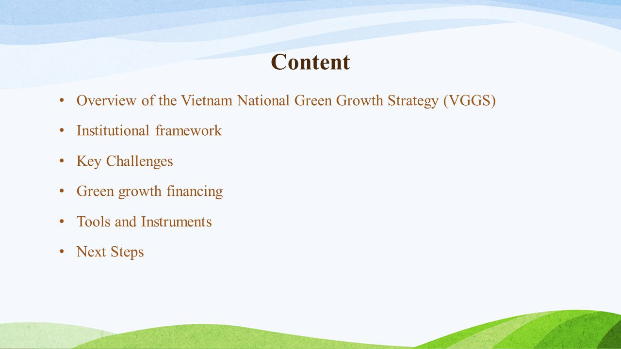 Content Overview of the Vietnam National Green Growth Strategy (VGGS)