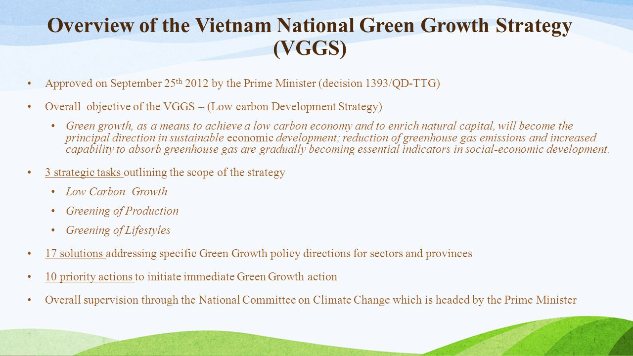 Overview of the Vietnam National Green Growth Strategy (VGGS)