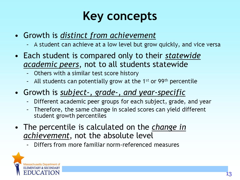 Key concepts Growth is distinct from achievement