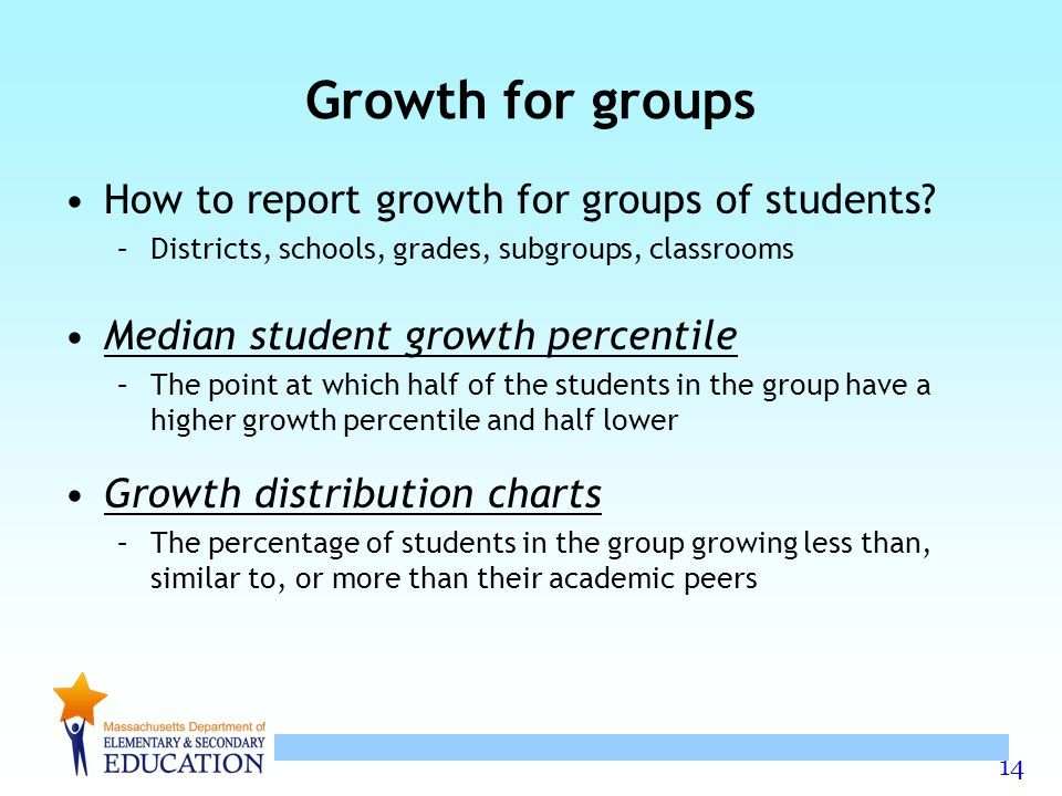 Growth for groups How to report growth for groups of students
