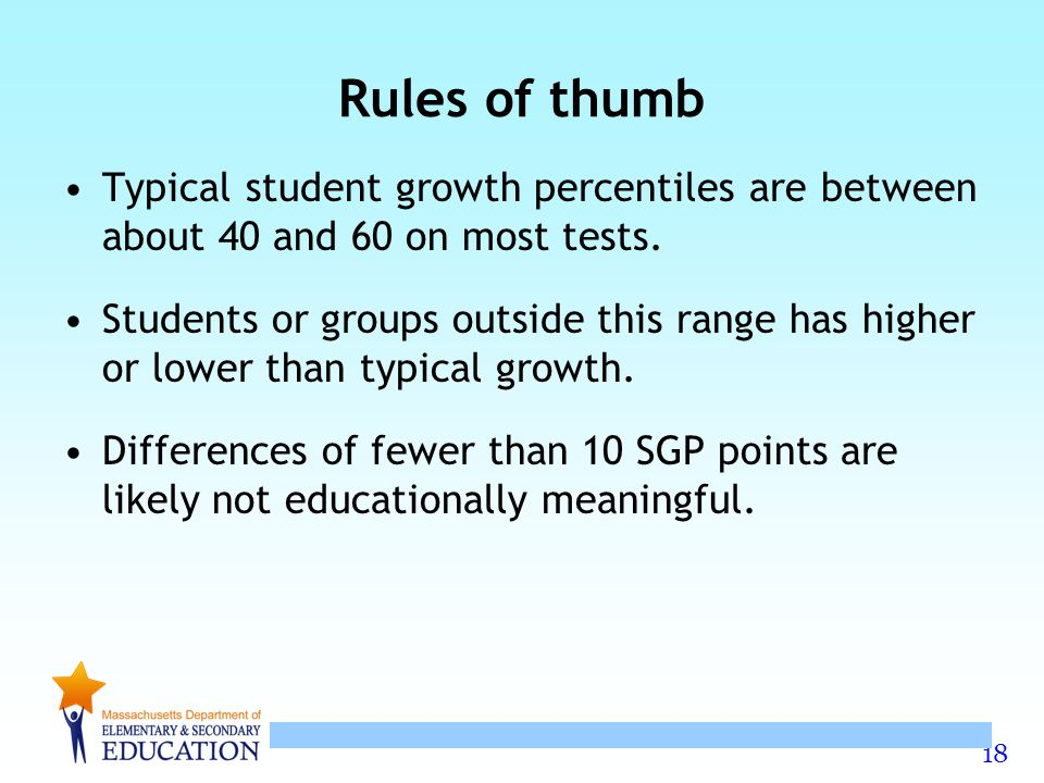 Rules of thumb Typical student growth percentiles are between about 40 and 60 on most tests.