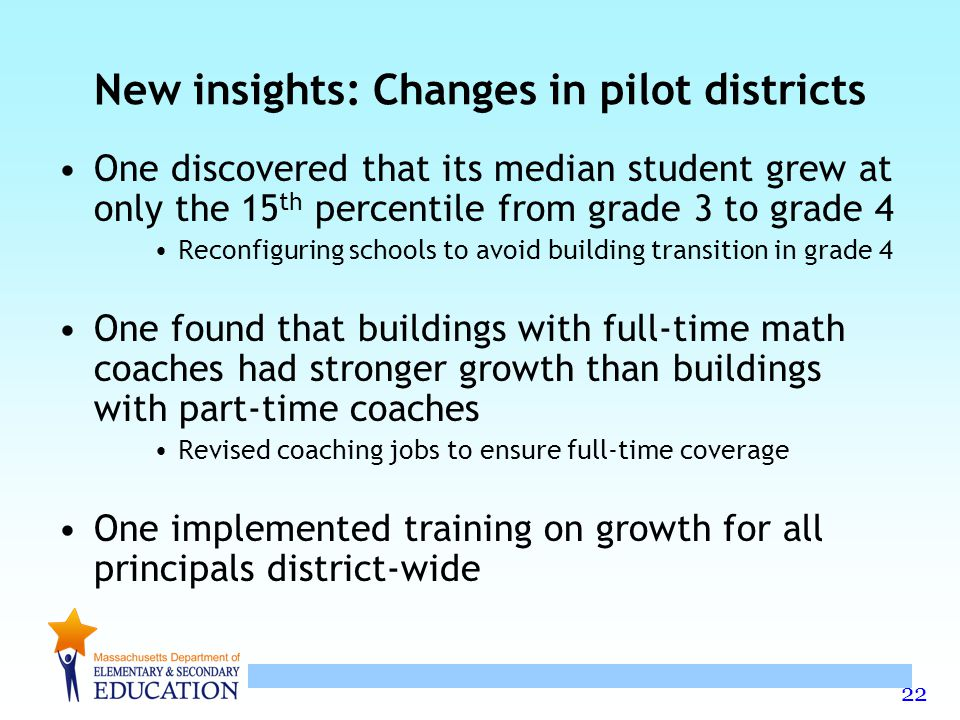 New insights: Changes in pilot districts