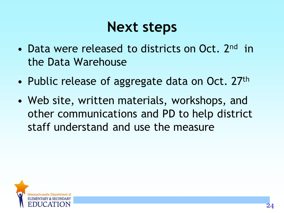 Next steps Data were released to districts on Oct. 2nd in the Data Warehouse. Public release of aggregate data on Oct. 27th.