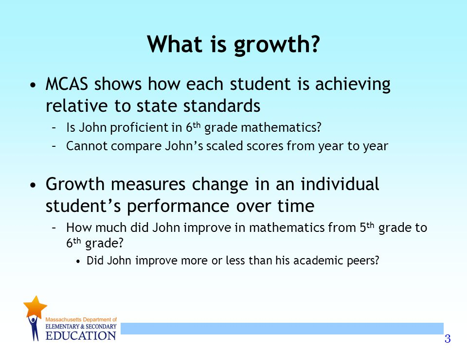 What is growth MCAS shows how each student is achieving relative to state standards. Is John proficient in 6th grade mathematics