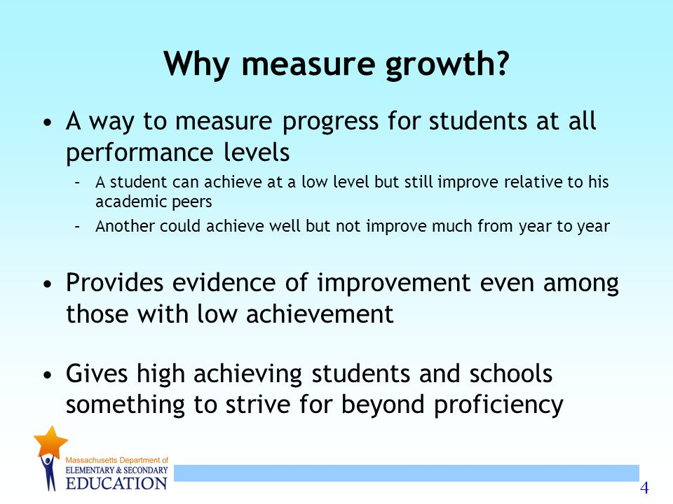 Why measure growth A way to measure progress for students at all performance levels.