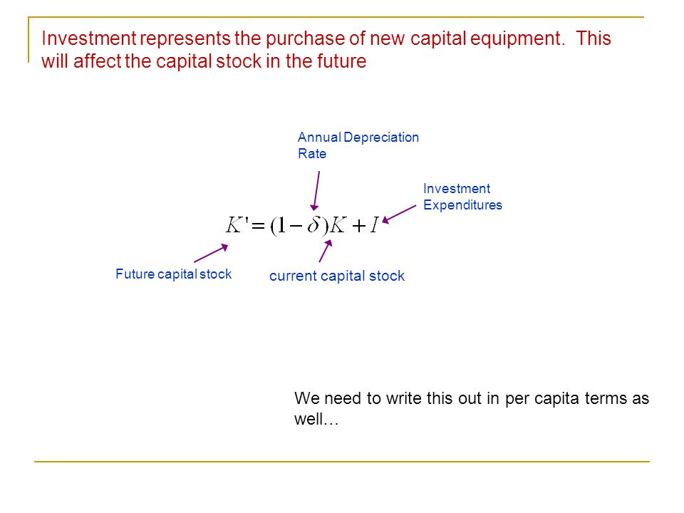 Investment represents the purchase of new capital equipment