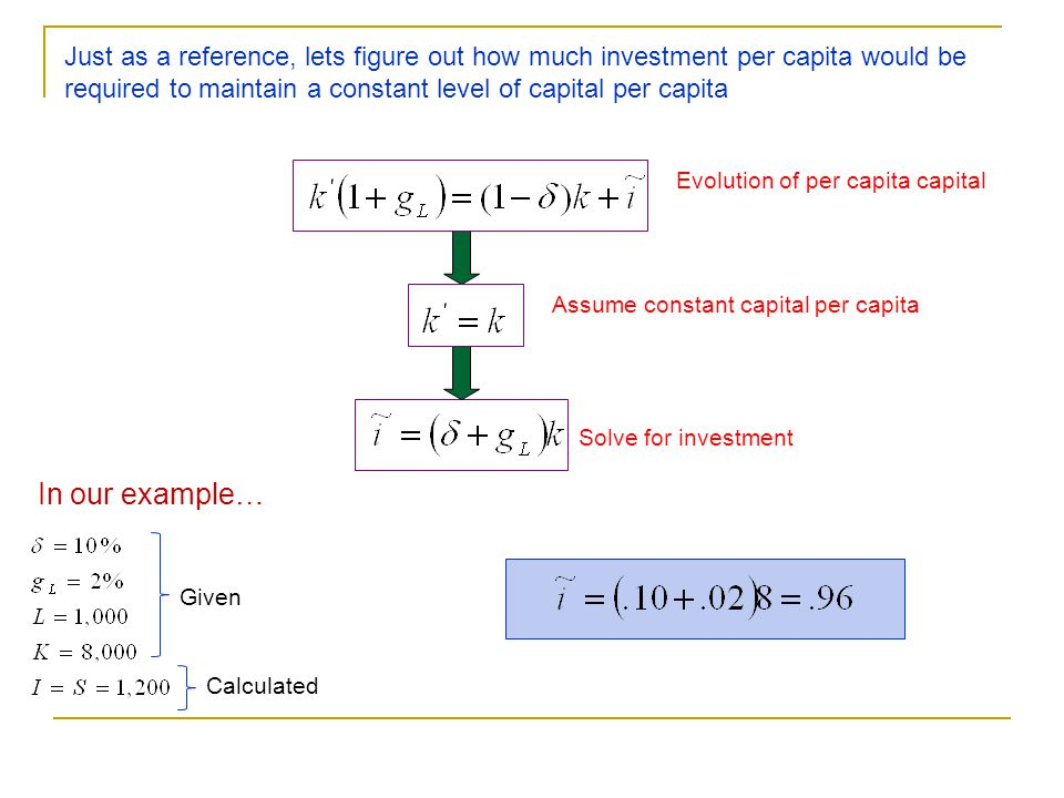 Just as a reference, lets figure out how much investment per capita would be required to maintain a constant level of capital per capita