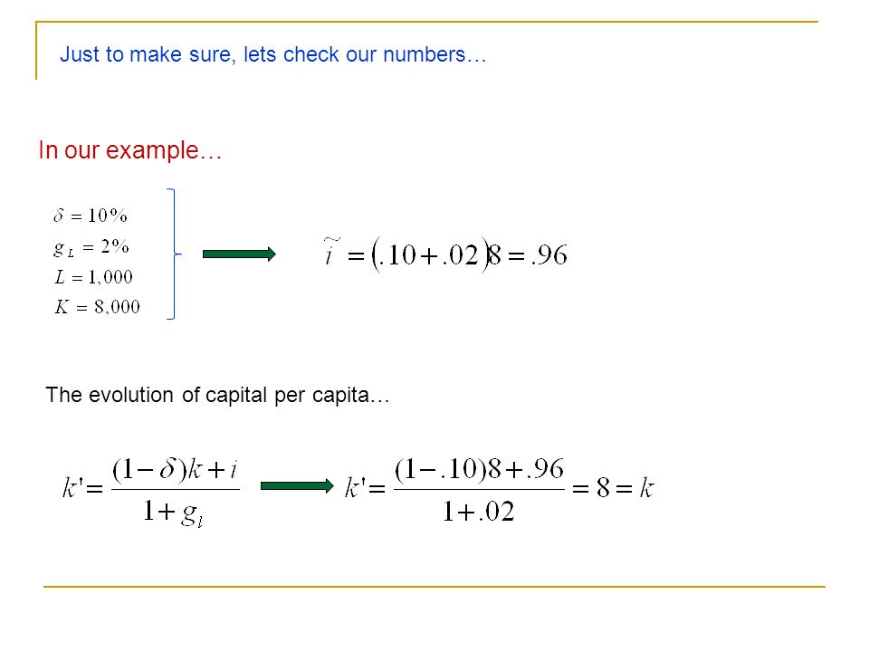 In our example… Just to make sure, lets check our numbers…